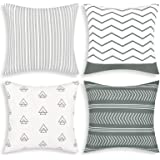 Set of 4 Pillow Covers Throw Pillow Case 18 x 18 Inch Decorations Sofa Throw Pillow Case Cushion Covers Zippered Pillowcase (