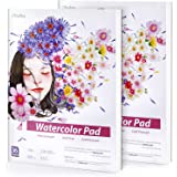 2 Pack Watercolor Pad Sketchbooks,Ohuhu 9X12IN,140 LB/300 GSM Heavyweight Papers 36 Sheets/72 Pages,Glue-Bound,Watercolor Pap