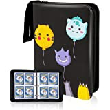 CloverCat 4 Pocket Trading Card Binder - Compatible with Pokemon Cards - Portable Storage Case with Protective Sheets - Holds