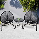 3Pcs Outdoor Furniture Set Garden Patio Chair Table Wicker Setting Chairs Bench