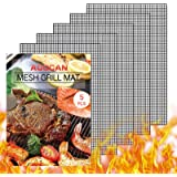 Aoocan Grill mesh mat - Set of 5 Non Stick BBQ Grill mats, Heavy Duty, Reusable Grilling mats, Easy to Clean - Works on Gas,