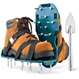 Jumbo Varieties Lawn Aerator Shoes - Comfortable Grass Aerating Spike Sandals for Lawns with Stainless Steel Shovel - Soil Ae