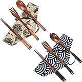 Tatuo 2 Set Wooden Flatware Tableware Cutlery Set Travel Utensils Tied Line Reusable Flatware, Wooden Fork Spoon Chopsticks