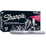 Sharpie Metallic Permanent Markers, Fine Point, Silver, 12 Count