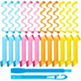 24 Pieces Hair Curlers Spiral Curls Styling Kit, No Heat Hair Rollers Spiral Styling Curlers Heatless Wave Style Hair Curlers