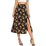 Floerns Women's Summer Floral Button Front High Waist Midi Skirt