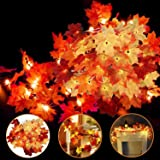 4 Pack Thanksgiving Fall Decorations Leaf Garland String Lights for Indoor Outdoor 10 ft 20 LED Maple Leaves Light 3 AA Batte