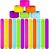 24 Pieces Ruler Slap Bracelets SlapWristRuler SlaponRulerBraclet Colorful Wristband Snap Ruler for Kids Classroom School