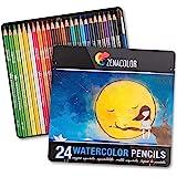 Zenacolor 24色 水彩色鉛筆 セット- 番号付き, 筆付き、金属 製 箱, 水溶性 - 人向け塗絵、マンダラ、学習用・新学期用に最適