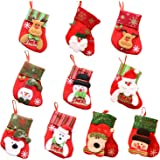 Takelablaze 10枚セット クリスマスの靴下 サンタクロース 雪だるま 熊 トナカイ クリスマス ソックス クリスマスツリー 飾り 可愛い オーナメント プレゼント ギフト キャンディなど入れ