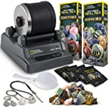 NATIONAL GEOGRAPHIC Hobby Rock Tumbler Kit - Rock Polisher for Kids & Adults, Noise-Reduced Barrel, Grit, 2.5 Pounds Raw Gems