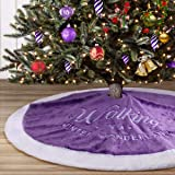 """yuboo Purple Christmas Tree Skirt,36"""" Luxury Faux Fur with Embroidered Snowflakes for Xmas Party and Holiday Decorations"""