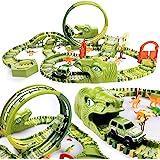 Dinosaur Race Track Dinosaurios World Race Car Tracks Toys Construction Vehicles Flexible Train Track Playsets with 400 Piece