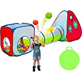 Kiddey 3pc Kids Play Tent Crawl Tunnel and Ball Pit Set - Durable Pop Up Playhouse Tent for Boys, Girls, Babies, Toddlers & P
