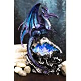 Ebros Gift Aqua Spyro Blue Elemental Dragon Perching On Fossil Cave Crystal Geode Mine Guardian LED Night Light Statue 12.5""