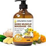 Sore Muscle Massage Oil,250ml 100% Pure Natural Lymphatic Drainage Massage Oil with Arnica Extract and Ginger Oils-Warming an