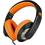Rockpapa Comfort+ Adjustable Over Ear Headphones Earphones with Microphone In-line Volume for Adults Kids Childs Teens, Smart