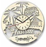 Hawaii ハワイ木製掛け時計ー完璧で美しく作られたー現代アートで自宅を飾ろうー彼と彼女にユニークなギフトーサイズ12インチ(30 ㎝)