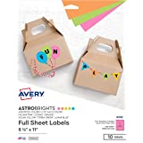 """Avery Astrobrights Color Easy Peel Full-Sheet Labels, 8-1/2"""" x 11"""", Pack of 10 (4332)"""