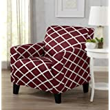 Great Bay Home Strapless Stretch Printed Slipcover Chair Cover, Stain and Spill Resistant. Tori Collection (Chair - Burgundy)
