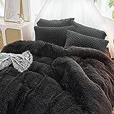 Uozzi Bedding Luxury Plush Shaggy Flannel 3 PC Duvet Cover Set (1 Faux Fur Duvet Cover + 2 Quilted Pillow Shams) Solid,No Ins