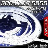 EZONEDEAL 16.4ft 5050 Cool White LED Flexible Strip 5M 300 LEDs Waterproof IP65 DC 12V for Home Garden Commercial Area Lighti
