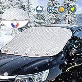 フロントカバー 雪対策霜よけ フロントガラス凍結防止シート 4重厚手撥水構造 内臓磁石5枚強力付着 盗難防止挟み耳付き 四季対応 霜除け 落葉積雪対策 日よけ 99%紫外線カット 遮光 断熱 凍結防止カバー 車用 サンシェード 普通車 軽自動車 SUVに適用(147x116cm)