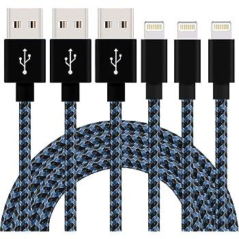 SGIN ライトニング ケーブル 【3本セット 2M】 lightning ケーブル ナイロン編み 超小型 ポート 急速充電 iPhone ケーブル X/8/7/7 Plus /6/6s Plus/6 Plus/5/5C/SE/iPad/Air/Mini, ios10 互換 - ブラック ブルー
