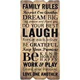 Family Rules Small 12x6 Fence Post Art Decorative Wall Plaque
