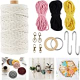 Macrame Kit - Plant Hanger Kits for Beginners Starter, Macrame Wall Hanging Kit Supplies Colored Macrame Cotton Cord 3mm 4 St