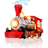 Bubble Blowing Toy Train By CifToys - Battery Powered Steam Bubbles Locomotive Engine - Colourful Lights & Fun Sounds - Const