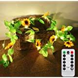 YXYQR 7.2ft Battery Operated Sunflowers Fairy String Lights with Timer Remote Artificial Sunflower Garland Vine LED Lights fo