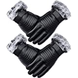 2 Pairs Winter Leather Gloves Touch Screen Gloves Windproof Driving Gloves for Men