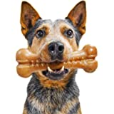 Pet Qwerks Alien BarkBone, USA-Sourced Real Bacon Flavor - Nylon Chew Toy for Aggressive Chewers, Tough Durable Extreme Power