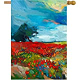 """ShineSnow Watercolor Spring Floral Flower Fields Farm Landscape Abstract Artwork House Flag 28"""" x 40"""" Double Sided Polyester"""