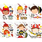 MALLMALL6 36Pcs Firefighter Sticker Make a Face Stickers Fireman Birthday Party Supplies Baby Shower Party Favors Party Decor