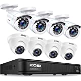 ZOSI 720p HD-TVI Home Surveillance Camera System 8 Channel Security Dvr (No Hard Drive) and (8) HD 1.0MP 1280TVL Outdoor/Indo