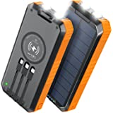 【40000mAh & Qiワイヤレス充電器 & 6台同時充電 】 ソーラーモバイルバッテリー 大容量 ソーラーチャージャー 2021年最新版 最大3A急速充電 入出力兼用Type-Cポート ソーラー充電器 3ケーブル内蔵(Lightning+Mic