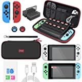 Switch Accessories Bundle for Nintendo Switch/ Switch OLED Model, Upgraded Switch Protection Kits with Carrying Case, Joy-Con