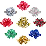"""Mata1 Pull Bows for Gifts (Assorted Colors, 5 Inch, Set of 9), Medium 5"""" Pull String Bows for Presents, Ribbon Pull Bows for"""