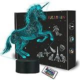 FULLOSUN Unicorn Bedside Lamp 3D Illusion Night Light,16 Colors Changing Remote Control Optical Light,Room Decor Unique Birth