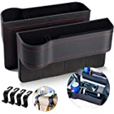 Homesprit 2 Packs Premium PU Universal Black Car Seat Gap Filler,No deformation,Odourless,Console Side Pocket,for USB chargin