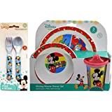 Mickey Mouse 5pc Toddler Mealtime Set! Plate, Bowl, Sippy cup, Fork & Spoon! BPA Free