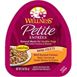 Wellness Petite Entrees Mini Filets Grain Free Natural Wet Small Breed Dog Food, Roasted Chicken & Beef, 3-Ounce Cup (Pack Of