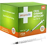 1ml Syringe with Cap (100 Pack) | Oral Dispenser Without Needle, Luer Slip Tip, | Individually Wrapped Medicine Dropper for I