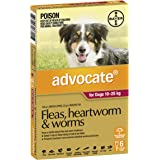 Advocate Flea, Heartworm and Worm Control for Large Dogs, Red, 6 Pack