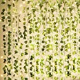 KASZOO 84Ft 12 Pack Artificial Ivy Garland Fake Plants, Vine Hanging Garland with 80 LED String Light, Hanging for Home Kitch
