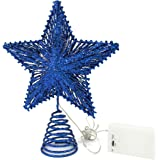 CVHOMEDECO. Blue Glittered 3D Tree Top Star with Warm White LED Lights and Timer for Christmas Ornaments and Holiday Seasonal
