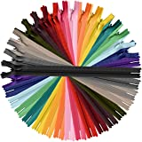 60pcs Nylon Invisible Zippers, 8 Inch Colorful Sewing Zippers Supplies for Tailor Sewing Crafts (20 Assorted Colors)