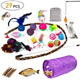 Cat Toys Kitten Toys 29pcs Assorted Cat Tunnel Catnip Fish Feather Teaser Wand Fish Fluffy Mouse Mice Balls and Bells Toys St